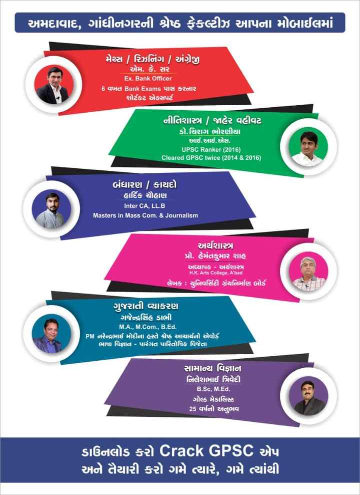 ❓ ધોરણ -10 & 12 પછી શું? - અમદાવાદ , ગાંધીનગરની શ્રેષ્ઠ ફેકલ્ટીઝ આપના મોબાઈલમાં મેપ્સ   રિઝનિંગ / અંગ્રેજી એમ . કે . સર Ex . Bank Officer 6 વખત Bank Exams પાસ કરનાર શોર્ટકટ એક્સપર્ટ નીતિશાસ્ત્ર   જાહેર વહીવટ ડો . ચિરાગ ભોરણીયા આઈ . આઈ . એસ . UPSC Ranker ( 2016 ) Cleared GPSC twice ( 2014 & 2016 ) બંધારણ   કાયદો હાર્દિક ચહાણ Inter CA , LL . B ' Masters in Mass com . & Journalism   અર્થશાસ્ત્ર પ્રો . હેમંતકુમાર શાહ અધ્યાપક - અર્થશાસ્ત્ર H . K . Arts College , A ' bad લેખક : યુનિવર્સિટી ગ્રંથનિમણિ બોર્ડ ગુજરાતી વ્યાકરણ ગજેન્દ્રસિંહ ડાભી M . A . , M . Com . , B . Ed . ' PM નરેન્દ્રભાઈ મોદીના હસ્તે શ્રેષ્ઠ આચાર્યનો એવોર્ડ ' ભાષા વિજ્ઞાન - પારંગત પારિતોષિક વિજેતા સામાન્ય વિજ્ઞાન નિલેશભાઈ ત્રિવેદી B . Sc , M . Ed . ગોલ્ડ મેડાલિસ્ટ 25 વર્ષનો અનુભવ ' ડાઉનલોડ કરો Crack GPSC એપ અને તૈયારી કરો ગમે ત્યારે , ગમે ત્યાંથી - ShareChat