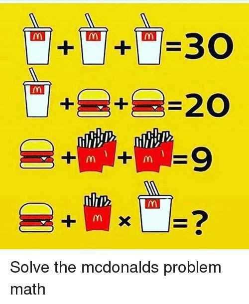 ❓మా ప్రశ్న, మీ జవాబు - mi m m + + = 30 + 2 + 2 = 20 IM martin Solve the mcdonalds problem math - ShareChat