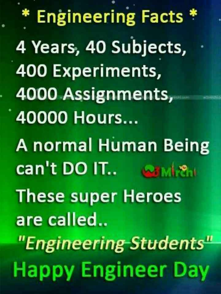 ❓ ಇಂಜಿನಿಯರಿಂಗ್ ಎಂದರೆ? - * Engineering Facts * 4 Years , 40 Subjects , 400 Experiments , 4000 Assignments , 40000 Hours . . . A normal Human Being can ' t DO IT . . Men These super Heroes are called . . Engineering Students Happy Engineer Day - ShareChat