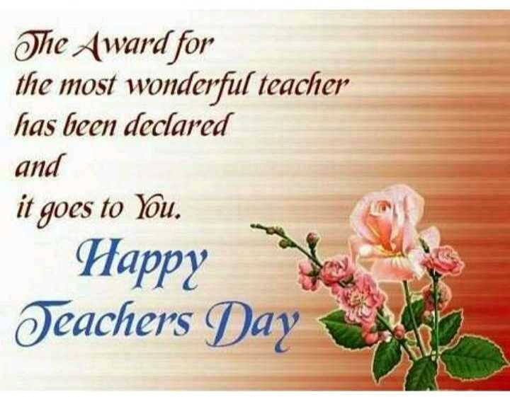 ❤️ टीचर्स डे स्टेटस - The Award for the most wonderful teacher has been declared and it goes to You . Happy go le Teachers Day - ShareChat