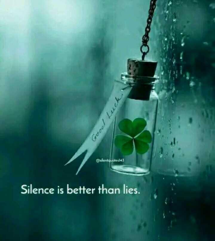 ❤️காதல் - Good Luck @ sdeniquetes ! 43 Silence is better than lies . - ShareChat