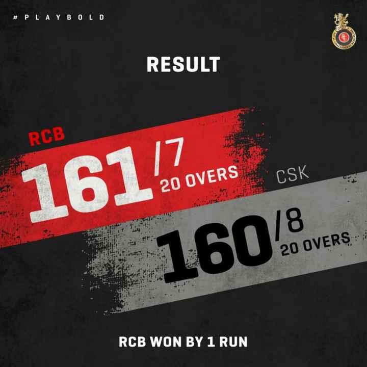 ❤️ RCB: रॉयल चैलेंजर्स बंगलौर - # PLAYBOLD RESULT RCB CSK 161 VR 20 OVERS 20 OVERS 16048 RCB WON BY 1 RUN - ShareChat