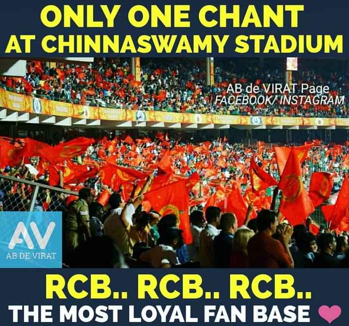 ❤️ RCB: रॉयल चैलेंजर्स बंगलौर - ONLY ONE CHANT AT CHINNASWAMY STADIUM AB de VIRAT Page FACEBOOK INSTAGRAM AV AB DE VIRAT RCE . . C . . . RCB . . THE MOST LOYAL FAN BASE - ShareChat