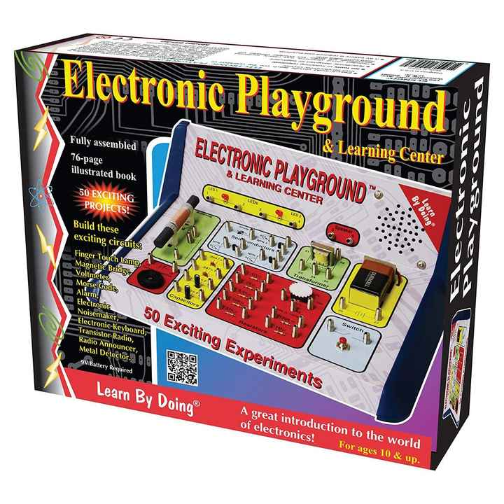 ⚙️ इलेक्ट्रॉनिक्स सामान - U Electronic Playground arning Center ELECTRONIC PLAYGROUND & LEARNING CENTER Fully assembled 76 - page illustrated book 50 EXCITING PROJECTS ! ODK LED 1 Learn LEDs By Doing LED 2 Speaker NPN Sen conductors NEN Transformer DURACELL Build these exciting circuits : Finger Touch Lamp , Magnetic Bridge , Voltmeter , Morse code , Alarm , Electronic Noisemaker , Electronic Keyboard Transistor Radio , Radio Announcer , Metal Detector . . Capacitors o 50 Exciting Experiments Switch - Resistors de DESMO 9V Battery Required 03A Learn By Doing A great introduction to the world of electronics ! For ages 10 & up . - ShareChat