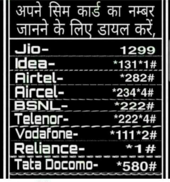 🖥️ कंप्यूटर सीखें - OLIT अपने सिम कार्ड का नम्बर   जानने के लिए डायल करें , Jio 1299 Idea * 131 * 1 # Airtel - * 282 # Aircel - * 234 * 4 # BSNL * 222 # ] Telenor * 222 * 4 # IVodafone * 111 * 223 Reliance * 1 # TataDOCOMo - * 58023 - ShareChat