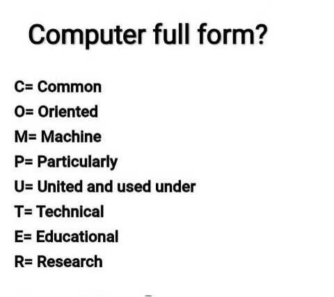 🖥️ कंप्यूटर सीखें - Computer full form ? C = Common O = Oriented M = Machine P = Particularly U = United and used under T = Technical E = Educational R = Research - ShareChat