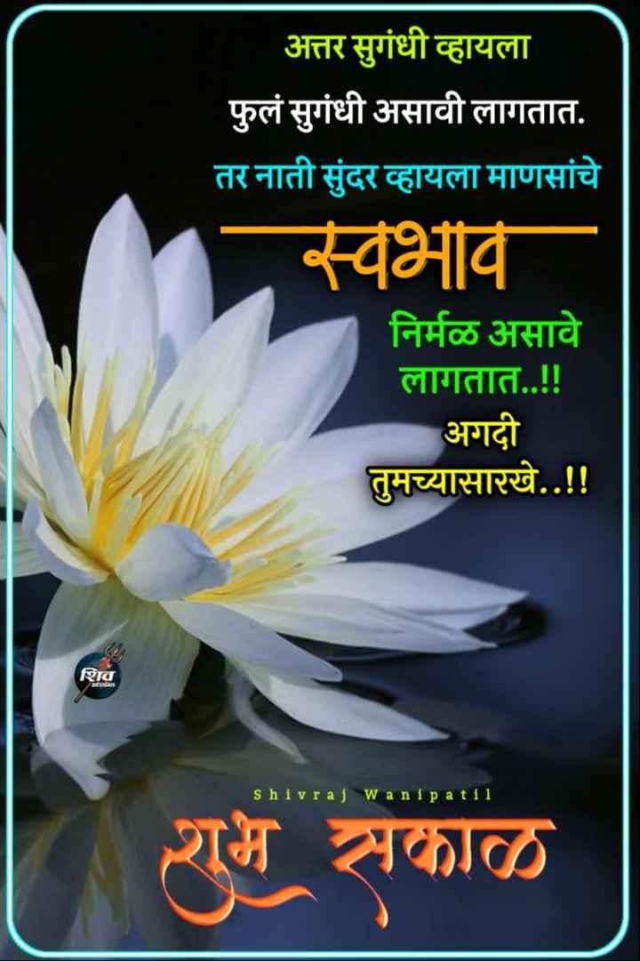 ☀️गुड मॉर्निंग☀️ - अत्तर सुगंधी व्हायला फुलं सुगंधी असावी लागतात . तर नाती सुंदर व्हायला माणसांचे स्वभाव निर्मळ असावे लागतात . . ! ! अगदी तुमच्यासारखे . . ! ! शिव DESICS shivraj wanipa til शुभ सकाळ - ShareChat