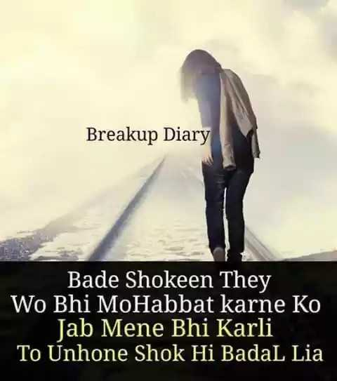 🖊️दर्द शायरी स्टेटस 💔 - Breakup Diary Bade Shokeen They Wo Bhi MoHabbat karne Ko Jab Mene Bhi Karli To Unhone Shok Hi Badal Lia - ShareChat
