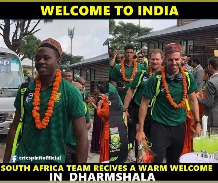 🏟️ मेरे खेल की दुनिया - WELCOME TO INDIA najj ' Z PROTEAS f cricspiritofficial SOUTH AFRICA TEAM RECIVES A WARM WELCOME IN DHARMSHALA - ShareChat