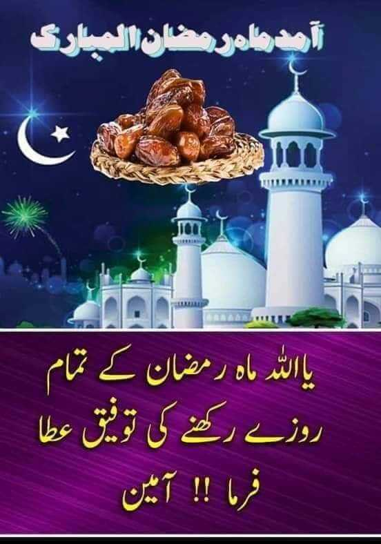 🖊️ रमजान स्टेटस / शायरी 📖 - آمدماه رمضان المبارک یا اللہ ماہ رمضان کے تمام روزے رکھنے کی توفیق عطا فرما ! ! آمین - ShareChat