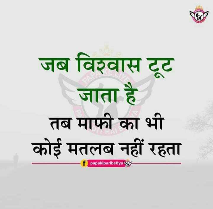 🖊️ लव शायरी और status ❤️ - जब विश्वास टूट जाता है तब माफी का भी कोई मतलब नहीं रहता papakiparibetiya - ShareChat