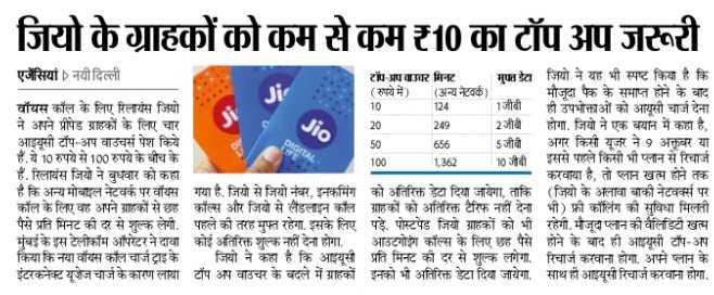 🗞️ समाचार एवं न्यूज़ पेपर क्लिप - जियो के ग्राहकों को कम से कम ₹10 का टॉप अप जरूरी 656 एजेंसियां ) नयी दिल्ली टॉप अप काउचर मिनट मुफ्त डेटा जियो ने यह भी स्पष्ट किया है कि ( रुपये में ) ( अन्य नेटवर्क ) मौजूदा पैक के समाप्त होने के बाद वॉयस कॉल के लिए रिलायंस जियो 124 - 1जीबी ही उपभोक्ताओं को आयूसी चार्ज देना ने अपने प्रीपेड ग्राहकों के लिए चार 249 2जीबी होगा . जियो ने एक बयान में कहा है , आइयूसी टॉप - अप वाउचर्स पेश किये 5जीबी अगर किसी यूजर ने 9 अक्तूबर या हैं . ये 10 रुपये से 100 रुपये के बीच के 100 1 , 362 10 जीबी इससे पहले किसी भी प्लान से रिचार्ज हैं . रिलायंस जियो ने बुधवार को कहा - करवाया है , तो प्लान खत्म होने तक है कि अन्य मोबाइल नेटवर्क पर वॉयस गया है . जियो से जियो नंबर , इनकमिंग को अतिरिक्त डेटा दिया जायेगा , ताकि ( जियो के अलावा बाकी नेटवर्क्स पर कॉल के लिए वह अपने ग्राहकों से छह कॉल्स और जियो से लैंडलाइन कॉल ग्राहकों को अतिरिक्त टैरिफ नहीं देना भी ) फ्री कॉलिंग की सुविधा मिलती पैसे प्रति मिनट की दर से शुल्क लेगी . पहले की तरह मुफ्त रहेगा . इसके लिए पड़े . पोस्टपेड जियो ग्राहकों को भी रहेगी . मैजूदा प्लान की वैलिडिटी खत्म मुंबई के इस टेलीकॉम ऑपरेटर ने दावा कोई अतिरिक्त शुल्क नहीं देना होगा . आउटगोइंग कॉल्स के लिए छह पैसे होने के बाद ही आइयूसी टॉप - अप किया कि नया वॉयस कॉल चार्ज ट्राइके जियो ने कहा है कि आइयूसी प्रति मिनट की दर से शुल्क लगेगा . रिचार्ज करवाना होगा . अपने प्लान के इंटरकनेक्ट यूजेज चार्ज के कारण लाथा टॉप अप वाउचर के बदले में ग्राहकों इनको भी अतिरिक्त डेटा दिया जायेगा . साथ ही आइयूसी रिचार्ज करवाना होगा . - ShareChat