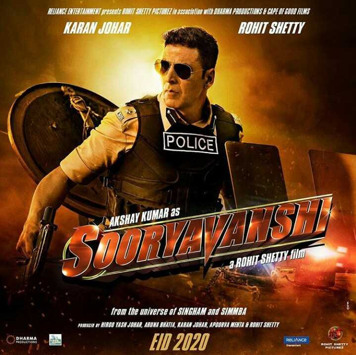 🎞️सूर्यवंशी फर्स्ट लुक - RELIANCE ENTERTAINMENT presents RONIT SHETTY PICTUREZ in association with DHARMA PRODUCTIONS A CAPE OF GOOD FILMS KARAN JOHAR ROHIT SHETTY POLICE AKSHAY KUMAR as a ROHIT SHETTY film from the universe of SINGHAM and SIMMBA INICA I BIROO YASH JONAR , ARUNA BNATLA , KARAN JONAR , APOORVA MEHTA & RONIT SNETTY DHARON MOUCHONS EID 2020 RELIANCE ROHIT SHETTY - ShareChat