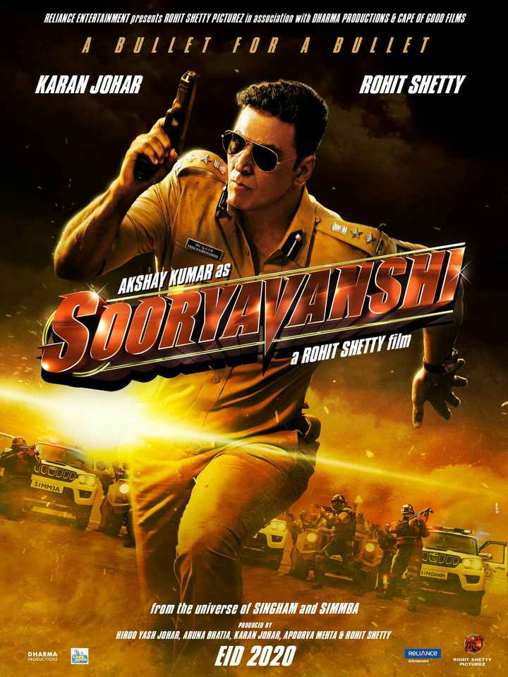 🎞️सूर्यवंशी फर्स्ट लुक - RELIANCE ENTERTAINMENT presents ROHIT SHETTY PICTUREZ in association with DHARMA PRODUCTIONS & CAPE OF GOOD FILMS A BUTTEL FOR A BUTTET KARAN JOHAR ROHIT SHETTY VEER SOORYAVANSHI ની સામiણી AKSHAY KUMAR AS UST a ROHIT SHETTY film JOCUOD 51MM3A Home 01 ZA JODOD SINGHAM from the universe of SINGHAM and SIMMBA PRODUCED BY HIROO VASH JOHAR , ARUNA BHATIA , KARAN JOHAR , APOORVA MEHTA & ROHIT SHETTY DHARMA PRODUCTIONS EID 2020 RELIANCE Entertainment ROHIT SHETTY PICTUREZ - ShareChat