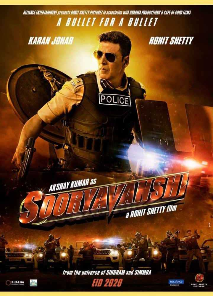 🎞️सूर्यवंशी फर्स्ट लुक - RUANGE ENTERTAINMENT Sresents RONIT SWETTY PICTURZ in association will ONURNA PRODUCTIONS F CAPE OF GOON FILMS A BUTTET FOR A BUITET KARAN JOHAR ROHIT SHETTY POLICE AKSHAY KUMAR as URAVANJ a ROHIT SHETTY film from the universe of SINGNAM and SIMMBA EID 2020 DHARMA ROLIANCE - ShareChat