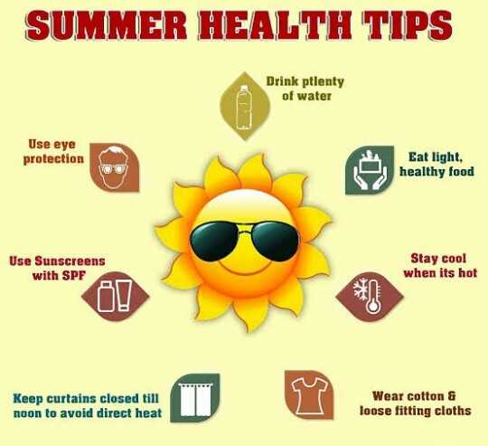 ⛱️ ਗਰਮੀਆਂ ਵਿੱਚ ਸਿਹਤ ਦਾ ਰੱਖੋ ਖਾਸ ਖਿਆਲ - SUMMER HEALTH TIPS Drink plenty of water Use eye protection Eat light , healthy food Use Sunscreens with SPF Stay cool when its hot Keep curtains closed till noon to avoid direct heat Wear cotton & loose fitting cloths - ShareChat