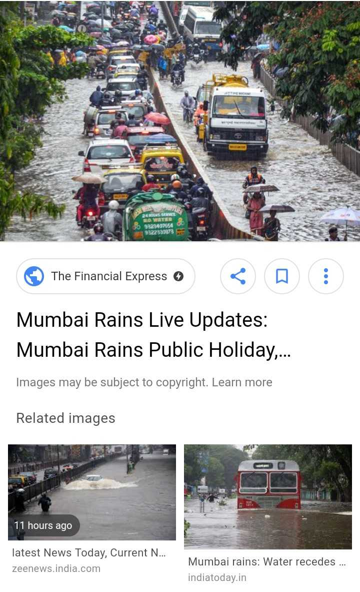 🌧️ਮੁੰਬਈ ਭਾਰੀ ਮੀਂਹ - ROWETER 323407054 The Financial Express 0 < a : Mumbai Rains Live Updates : Mumbai Rains Public Holiday . . . Images may be subject to copyright . Learn more Related images 11 hours ago latest News Today , Current N . . . zeenews . india . com Mumbai rains : Water recedes . . . indiatoday . in - ShareChat