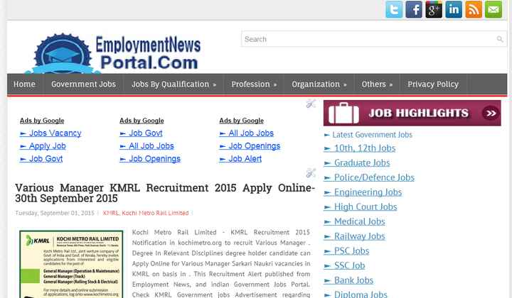 ℹ️ ਰੋਜ਼ਗਾਰ ਸੰਬੰਧੀ ਜਾਣਕਾਰੀ - Search EmploymentNews Portal . Com Government Jobs Jobs By Qualification » Home Profession » Organization » Others » Privacy Policy JOB HIGHLIGHTS » Ads by Google Jobs Vacancy - Apply Job Job Govt Ads by Google Job Govt All Job Jobs Job Openings Ads by Google All Job Jobs Job Openings Job Alert Various Manager KMRL Recruitment 2015 Apply Online 30th September 2015 Tuesday , September 01 , 2015 I KMRL , Kochi Metro Rail Limited Latest Government Jobs 10th , 12th Jobs - Graduate Jobs w Police / Defence Jobs - Engineering Jobs - High Court Jobs Medical Jobs Railway Jobs PSC Jobs SSC Job Bank Jobs Diploma Jobs KMRL KOCHI METRO RAIL LIMITED Revenue Twel , how much 11 . Kerala Koch Metro Rail Ltd , joint venture company of Govt . of India and Govt . of Kerala , hereby invites applications from interested and elig ble candidates for the post of General Manager ( Operation & Maintenance ) General Manager ( Track ) General Manager ( Rolling Stock & Electrical ) Kochi Metro Rail Limited - KMRL Recruitment 2015 Notification in kochimetro . org to recruit Various Manager . Degree in Relevant Disciplines degree holder candidate can Apply Online for Various Manager Sarkari Naukri vacancies in KMRL on basis in . This Recruitment Alert published from Employment News , and indian Government Jobs Portal Check KMRL Government jobs Advertisement reqarding For more details and online submission of applications , log onto www . kochimetro . org - ShareChat