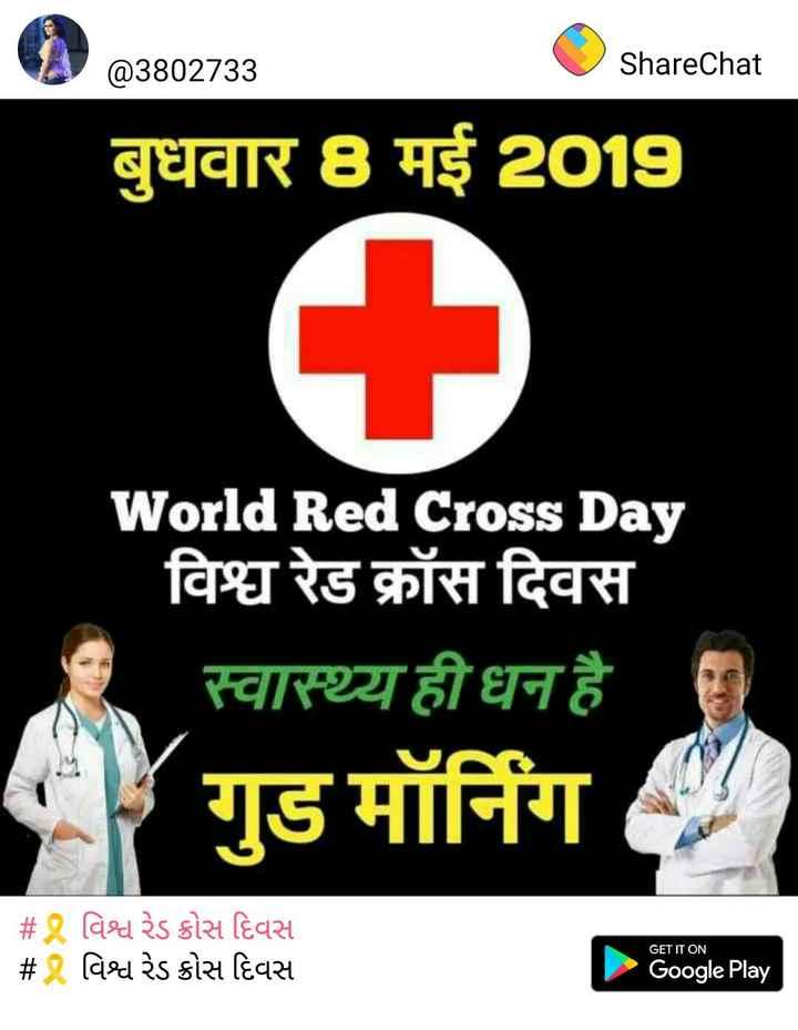 🎗️ વિશ્વ રેડ ક્રોસ દિવસ - @ 3802733 ShareChat बुधवार 8 मई 2019 World Red Cross Day विश्व रेड क्रॉस दिवस * स्वास्थ्यही धन है । गुड मॉर्निग   # 2 विश्व २ऽ ठोस दिवस # 2 विश्व २ऽ sोस दिवस GET IT ON Google Play - ShareChat