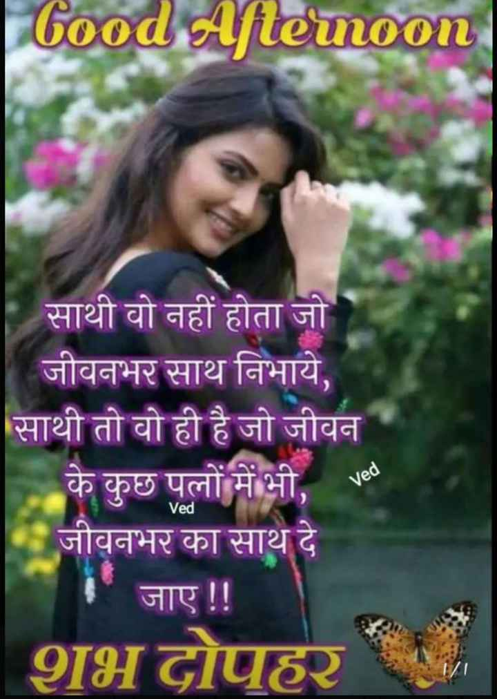 ☀️ શુભ બપોર - Good Afternoon Ved साथी वो नहीं होता जो जीवनभर साथ निभाये , साथी तो वो ही है जो जीवन के कुछ पलों में भी , जीवनभर का साथ दे जाए ! ! शभ दोपहर Ved - ShareChat