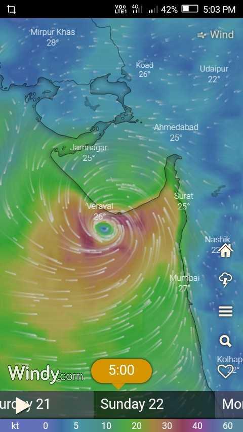 🌦️ હવામાન સમાચાર - VODE 461 , 42 % O 5 : 03 PM Mirpur Khas * Wind 28° Udaipur 22° Ahmedabad 25° Jamnagar 25° Surat 25° Veraval 26° Nashik Mumbai Kolhap 5 : 00 Windy . com urdy 21 Sunday 22 Moi kt 0 5 10 20 30 40 60 - ShareChat