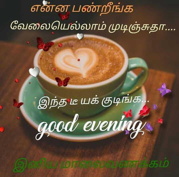 ☕️மாலை வணக்கம் - ' என்ன பண்றீங்க ' வேலையெல்லாம் முடிஞ்சுதா . . . இந்த டீ யக் குடிங்க . . . good evening - ShareChat