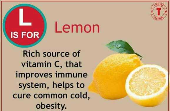 🅰️ ಆಂಗ್ಲ ಅಕ್ಷರಗಳು - Lemon IS FOR Rich source of vitamin C , that improves immune system , helps to cure common cold , obesity . - ShareChat