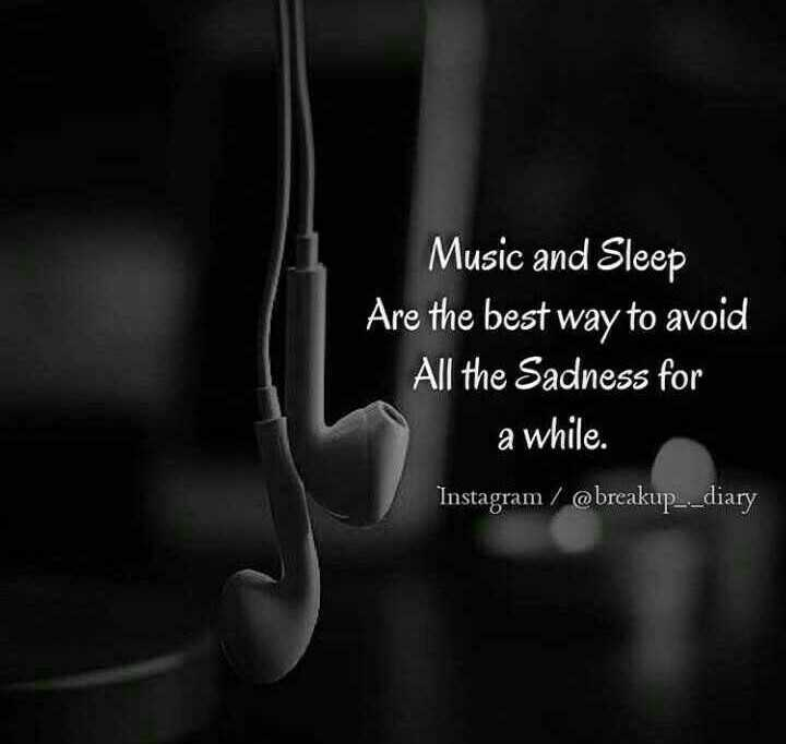 🏞️ ഇമേജ് സ്റ്റാറ്റസ് - Music and Sleep Are the best way to avoid All the Sadness for a while . Instagram / @ breakup _ . _ diary - ShareChat