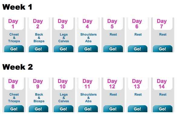 🏋️♂️ਜਿਮ ਦੀਆਂ ਕਸਰਤਾਂ - Week 1 Day Day Day Day Day Day Day Day Chest Back Legs Shoulders Rest Rest Rest Triceps Biceps Calves Abs Go ! Go ! Go ! Go ! Go ! Go ! Go ! Week 2 Day Day Day 10 Day Day Day 13 Day 14 11 12 Chest Back Shoulders Rest Rest Rest & Triceps Legs & Calves Biceps Abs Go ! Go ! Go ! Go ! Go ! Go ! Go ! - ShareChat
