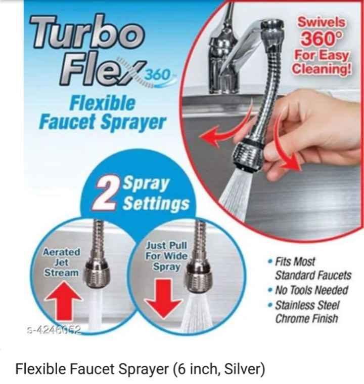🛍️ Shop - Turbo Fle / 360 Swivels 360° For Easy Cleaning ! Flexible Faucet Sprayer Spray Settings Aerated Jet Stream Just Pull For Wide Spray • Fits Most Standard Faucets • No Tools Needed Stainless Steel Chrome Finish 5 - 4 . 240952 Flexible Faucet Sprayer ( 6 inch , Silver ) - ShareChat