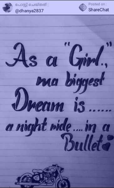 🏍️ bullet ❣️ - Goooo : @ dhanya2837 Posted on : ShareChat As a Girl . ma biggest Dream is . a night vide . . . na Bulleti - ShareChat