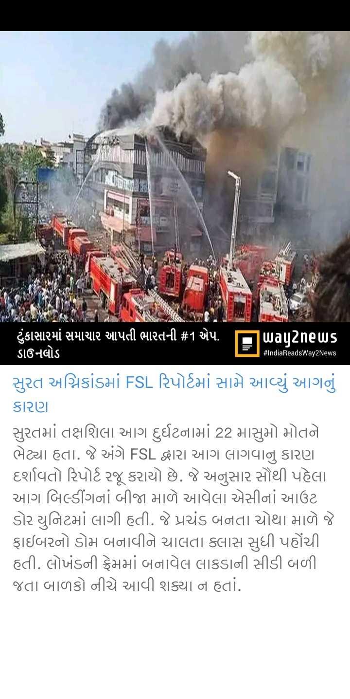 📰 03 જૂનનાં સમાચાર - # IndiaReadsWay2News ' ટુંકાસામાં સમાચાર આપતી ભારતની # 1 એપ . ITuuu _ news ડાઉનલોડ સુરત અગ્નિકાંડમાં FSL રિપોર્ટમાં સામે આવ્યું આગનું કારણ સુરતમાં તક્ષશિલા આગ દુર્ઘટનામાં 22 માસુમો મોતને ભેટ્યા હતા . જે અંગે FSL દ્વારા આગ લાગવાનું કારણ દર્શાવતો રિપોર્ટ રજૂ કરાયો છે . જે અનુસાર સૌથી પહેલા આગ બિલ્ડીંગનાં બીજા માળે આવેલા એસીનાં આઉટ ડોર યુનિટમાં લાગી હતી . જે પ્રચંડ બનતા ચોથા માળે જે ફાઇબરનો ડોમ બનાવીને ચાલતા ક્લાસ સુધી પહોંચી હતી . લોખંડની ફ્રેમમાં બનાવેલ લાકડાની સીડી બળી . જતા બાળકો નીચે આવી શક્યા ન હતાં . - ShareChat