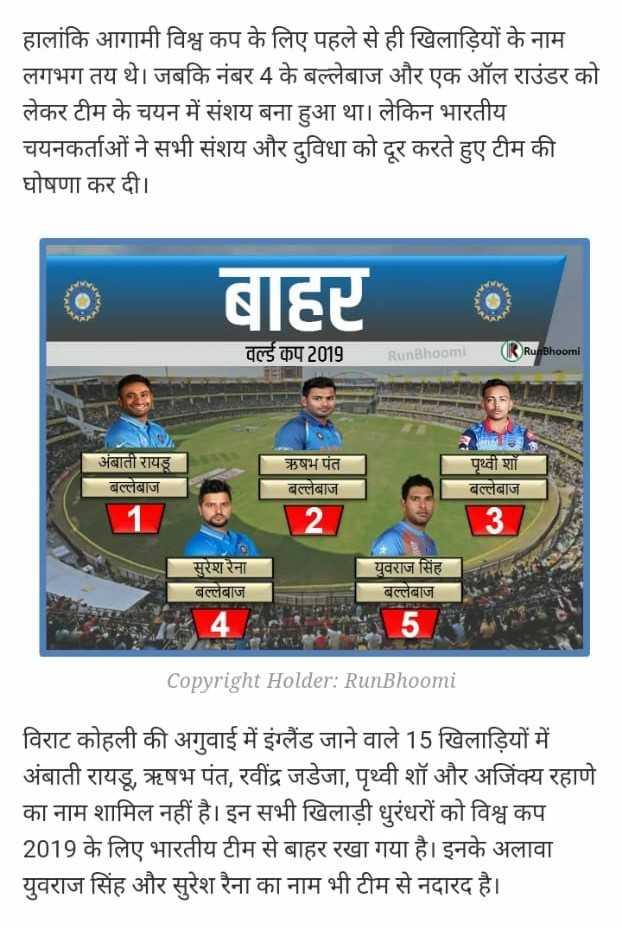 📃 1 મેનાં સમાચાર - हालांकि आगामी विश्व कप के लिए पहले से ही खिलाड़ियों के नाम लगभग तय थे । जबकि नंबर 4 के बल्लेबाज और एक ऑल राउंडर को लेकर टीम के चयन में संशय बना हुआ था । लेकिन भारतीय चयनकर्ताओं ने सभी संशय और दुविधा को दूर करते हुए टीम की घोषणा कर दी । बाद वल्र्ड कप 2019 RunBhoomi ( RunBhoomi अंबाती रायडू बल्लेबाज ऋषभ पंत । बल्लेबाज 35 पृथ्वी शॉ बल्लेबाज सुरेश रैना । बल्लेबाज युवराज सिंह । बल्लेबाज Copyright Holder : RunBhoomi विराट कोहली की अगुवाई में इंग्लैंड जाने वाले 15 खिलाड़ियों में अंबाती रायडू , ऋषभ पंत , रवींद्र जडेजा , पृथ्वी शॉ और अजिंक्य रहाणे का नाम शामिल नहीं है । इन सभी खिलाड़ी धुरंधरों को विश्व कप 2019 के लिए भारतीय टीम से बाहर रखा गया है । इनके अलावा युवराज सिंह और सुरेश रैना का नाम भी टीम से नदारद है । । - ShareChat