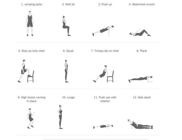 💪10 push-ups ચેલેન્જ - 1 . Jumping jacks 2 . Wall sit 3 . Push up 4 . Abdominal crunch 5 . Step - up onto chair 6 . Squat 7 . Triceps dip on chair 8 . Plank 10 . Lunge 12 . Side plank 9 . High knees running in place 11 . Push ups with rotation - ShareChat