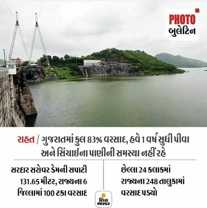 📰 11 ઓગસ્ટનાં સમાચાર - PHOTO બુલેટિના રાહત | ગુજરાતમાં કુલ 83 % વરસાદ , હવે1વર્ષ સુધી પીવા અને સિંચાઈના પાણીની સમસ્યા નહીંરહે સરદાર સરોવર ડેમની સપાટી છેલ્લા 24 કલાકમાં 131 . 65મીટર , રાજ્યના 6 રાજ્યના248તાલુકામાં જિલ્લામાં 100 ટકા વરસાદ વરસાદ પડ્યો દિવ્યા ભાકર - ShareChat