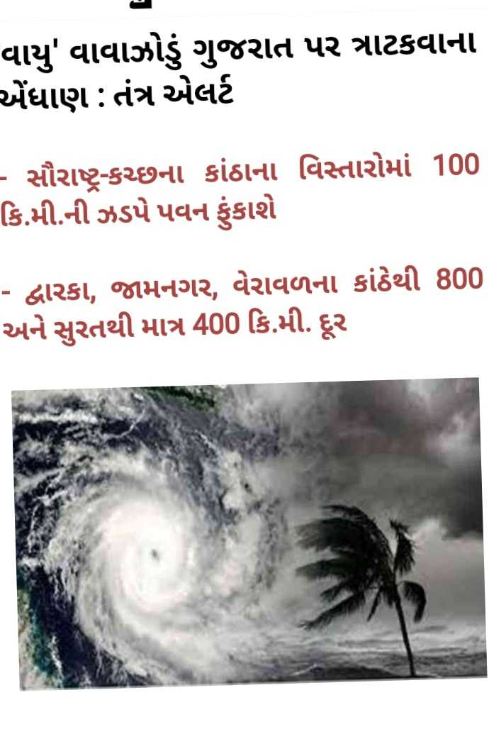 📰 11 જૂનનાં સમાચાર - વાયુ ' વાવાઝોડું ગુજરાત પર ત્રાટકવાના એંધાણ : તંત્ર એલર્ટ - સૌરાષ્ટ્ર - કચ્છના કાંઠાના વિસ્તારોમાં 100 કિ . મી . ની ઝડપે પવન ફુકાશે - દ્વારકા , જામનગર , વેરાવળના કાંઠેથી 800 અને સુરતથી માત્ર 400 કિ . મી . દૂર - ShareChat