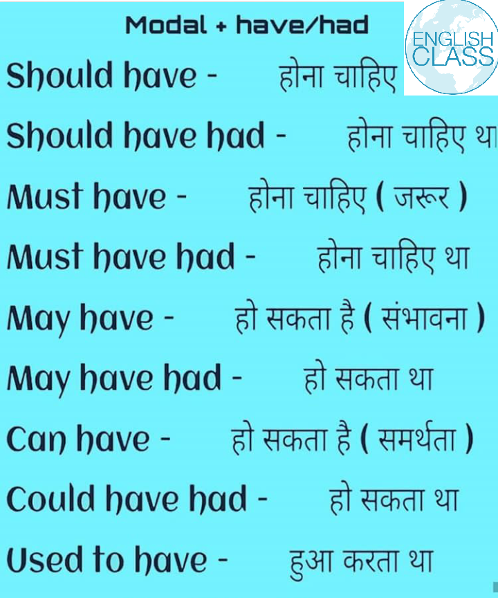English class  - ISH Modal + have / had Should have - होना चाहिए CLASS Should have had - होना चाहिए थ Must have - होना चाहिए ( जरूर ) Must have had - होना चाहिए था May have - हो सकता है ( संभावना ) May have had - हो सकता था Can have - हो सकता है ( समर्थता ) Could have had - हो सकता था Used to have - हुआ करता था - ShareChat
