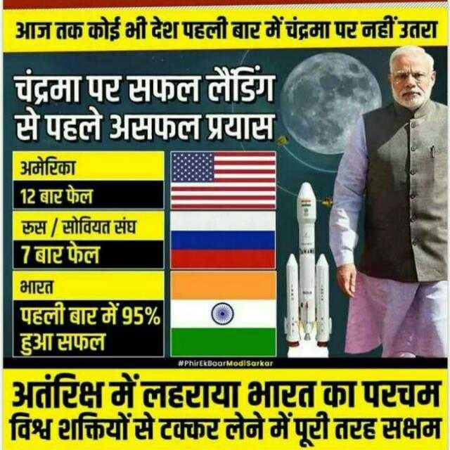 2दोंबारा नरेंद्र👨मोदी सरकार - आज तक कोई भी देश पहली बार में चंद्रमा पर नहीं उतरा चंद्रमा पर सफल लैंडिंग से पहले असफल प्रयास अमेरिका बाटफल रुस / सोवियत संघ 7 बार फेल 12 बार फेल भारत # PhirEkBaar ModlSarkar पहली बार में 95 % हुआ सफल अतंरिक्ष में लहराया भारत का परचम विश्व शक्तियों से टक्कर लेने में पूरी तरह सक्षम - ShareChat