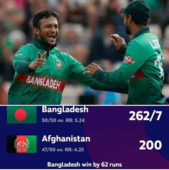 🏆 2019 WC கிரிக்கெட் - CU BANGLADES Bangladesh 50 / 50 ov . RR : 5 . 24 262 / 7 Afghanistan 47 / 50 ov . RR : 4 . 25 200 Bangladesh win by 62 runs - ShareChat