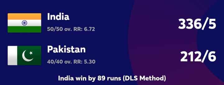 🏆 2019 WC கிரிக்கெட் - o India 50 / 50 ov . RR : 6 . 72 336 / 5 Pakistan 40 / 40 ov . RR : 5 . 30 212 / 6 India win by 89 runs ( DLS Method ) - ShareChat