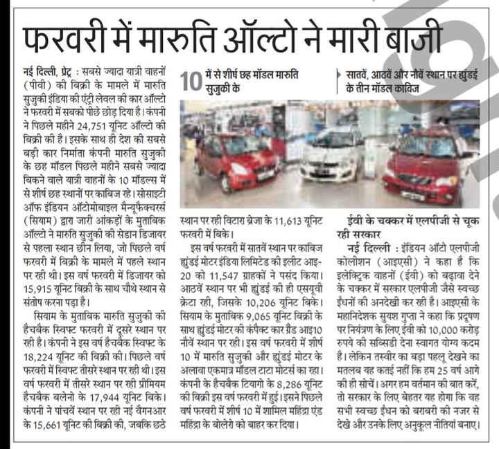 23 मार्च की न्यूज - फरवरी में मारुति ऑल्टो ने मारी बाजी नई दिल्ली , प्रेट्र : सबसे ज्यादा यात्री वाहनों में से शीर्ष छह मॉडल मारुति सातवें , आठवें और नौवें स्थान परांडई ( पीवी ) की बिक्री के मामले में मारुति सुजुकी के के तीन मॉडल काबिज सुजुकी इंडिया की एंट्री लेवल की कार ऑल्टो ने फरवरी में सबको पीछे छोड़ दिया है । कंपनी ने पिछले महीने 24 , 751 यूनिट ऑल्टो की बिक्री की है । इसके साथ ही देश की सबसे बडी कार निर्माता कंपनी मारुति सजकी के छह मॉडल पिछले महीने सबसे ज्यादा बिकने वाले यात्री वाहनों के 10 मॉडल्स में से शीर्ष छह स्थानों पर काबिज रहे । सोसाइटी ऑफ इंडियन ऑटोमोबाइल मैन्यूफैक्चरर्स ( सियाम ) द्वारा जारी आंकड़ों के मुताबिक स्थान पर रही विटारा ब्रेजा के 11 , 613 यूनिट ईवी के चक्कर में एलपीजी से चूक ऑल्टो ने मारुति सुजुकी की सेडान डिजायर फरवरी में बिके । रही सरकार से पहला स्थान छीन लिया , जो पिछले वर्ष इस वर्ष फरवरी में सातवें स्थान पर काबिज नई दिल्ली : इंडियन ऑटो एलपीजी फरवरी में बिक्री के मामले में पहले स्थान युंडई मोटर इंडिया लिमिटेड की इलीट आइ - कोलीशन ( आइएसी ) ने कहा है कि पर रही थी । इस वर्ष फरवरी में डिजायर को 20 को 11 , 547 ग्राहकों ने पसंद किया । इलेक्ट्रिक वाहनों ( ईवी ) को बढ़ावा देने 15 , 915 यूनिट बिक्री के साथ चौथे स्थान से आठवें स्थान पर भी झुंडई की ही एसयूवी के चक्कर में सरकार एलपीजी जैसे स्वच्छ संतोष करना पड़ा है । क्रेटा रही , जिसके 10 , 206 यूनिट बिके । ईंधनों की अनदेखी कर रही है । आइएसी के सियाम के मुताबिक मारुति सुजुकी की सियाम के मुताबिक 9 , 065 यूनिट बिक्री के महानिदेशक सुयश गुप्ता ने कहा कि प्रदूषण हैचबैक स्विफ्ट फरवरी में दूसरे स्थान पर साथ युंडई मोटर की कंपैक्ट कार ग्रैंड आइ10 पर नियंत्रण के लिए ईवी को 10 , 000 करोड़ रही है । कंपनी ने इस वर्ष हैचबैक स्विफ्ट के नौवें स्थान पर रही । इस वर्ष फरवरी में शीर्ष रुपये की सब्सिडी देना स्वागत योग्य कदम 18 , 224 यूनिट की बिक्री की । पिछले वर्ष 10 में मारुति सुजुकी और झुंडई मोटर के है । लेकिन तस्वीर का बड़ा पहलू देखने का फरवरी में स्विफ्ट तीसरे स्थान पर रही थी । इस अलावा एकमात्र मॉडल टाटा मोटर्स का रहा । मतलब यह कतई नहीं कि हम 25 वर्ष आगे वर्ष फरवरी में तीसरे स्थान पर रही प्रीमियम कंपनी के हैचबैक टियाग