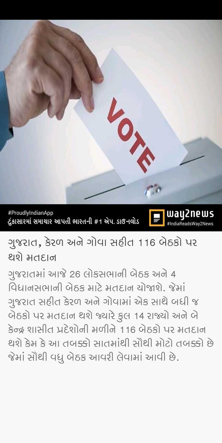 📃 23 એપ્રિલનાં સમાચાર - VOTE # ProudlyIndianApp way2news ટુંકાસારમાં સમાચાર આપતી ભારતની # 1 એપ . ડાઉનલોડ TET # IndiaReadsWay2News ગુજરાત , કેરળ અને ગોવા સહીત 116 બેઠકો પર થશે મતદાન ગુજરાતમાં આજે 26 લોકસભાની બેઠક અને 4 | વિધાનસભાની બેઠક માટે મતદાન યોજાશે . જેમાં ગુજરાત સહીત કેરળ અને ગોવામાં એક સાથે બધી જ બેઠકો પર મતદાન થશે જ્યારે કુલ 14 રાજ્યો અને બે કેન્દ્ર શાસીત પ્રદેશોની મળીને 116 બેઠકો પર મતદાન થશે કેમ કે આ તબક્કો સાતમાંથી સૌથી મોટો તબક્કો છે જેમાં સૌથી વધુ બેઠક આવરી લેવામાં આવી છે . - ShareChat