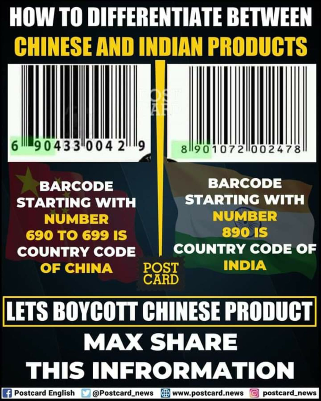 🎤 breaking news - HOW TO DIFFERENTIATE BETWEEN CHINESE AND INDIAN PRODUCTS 61904331004 2 | | | | 81190107201002478 | | BARCODE BARCODE STARTING WITH STARTING WITH NUMBER NUMBER 690 TO 699 IS 890 IS COUNTRY CODE COUNTRY CODE OF OF CHINA POST INDIA CARD LETS BOYCOTT CHINESE PRODUCT MAX SHARE THIS INFRORMATION Ef Postcard English @ Postcard _ news www . postcard . news postcard _ news - ShareChat