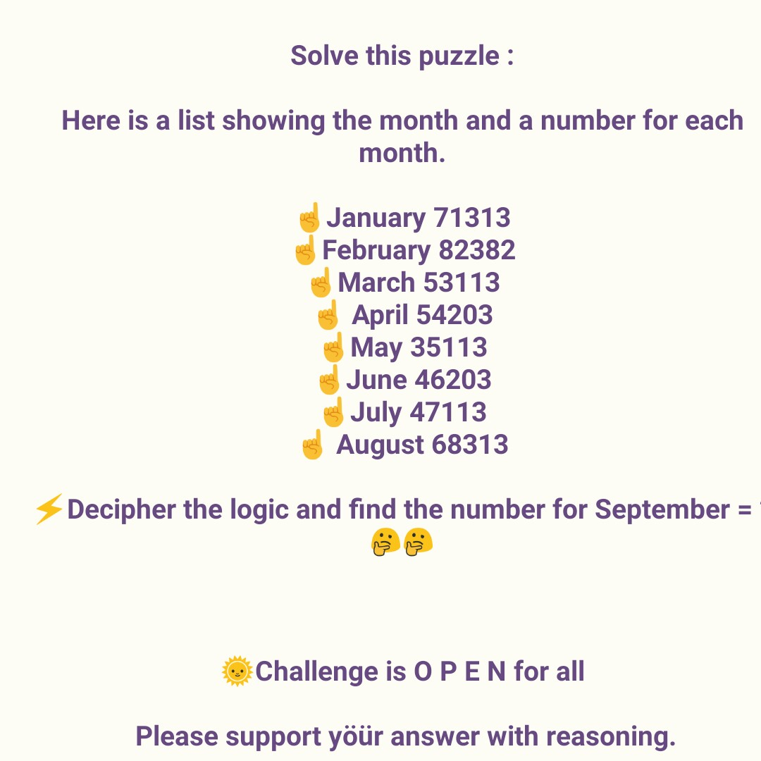 question - Solve this puzzle : Here is a list showing the month and a number for each month . January 71313 February 82382 March 53113 April 54203 May 35113 June 46203 July 47113 August 68313 Decipher the logic and find the number for September = Challenge is OPEN for all Please support yöür answer with reasoning . - ShareChat