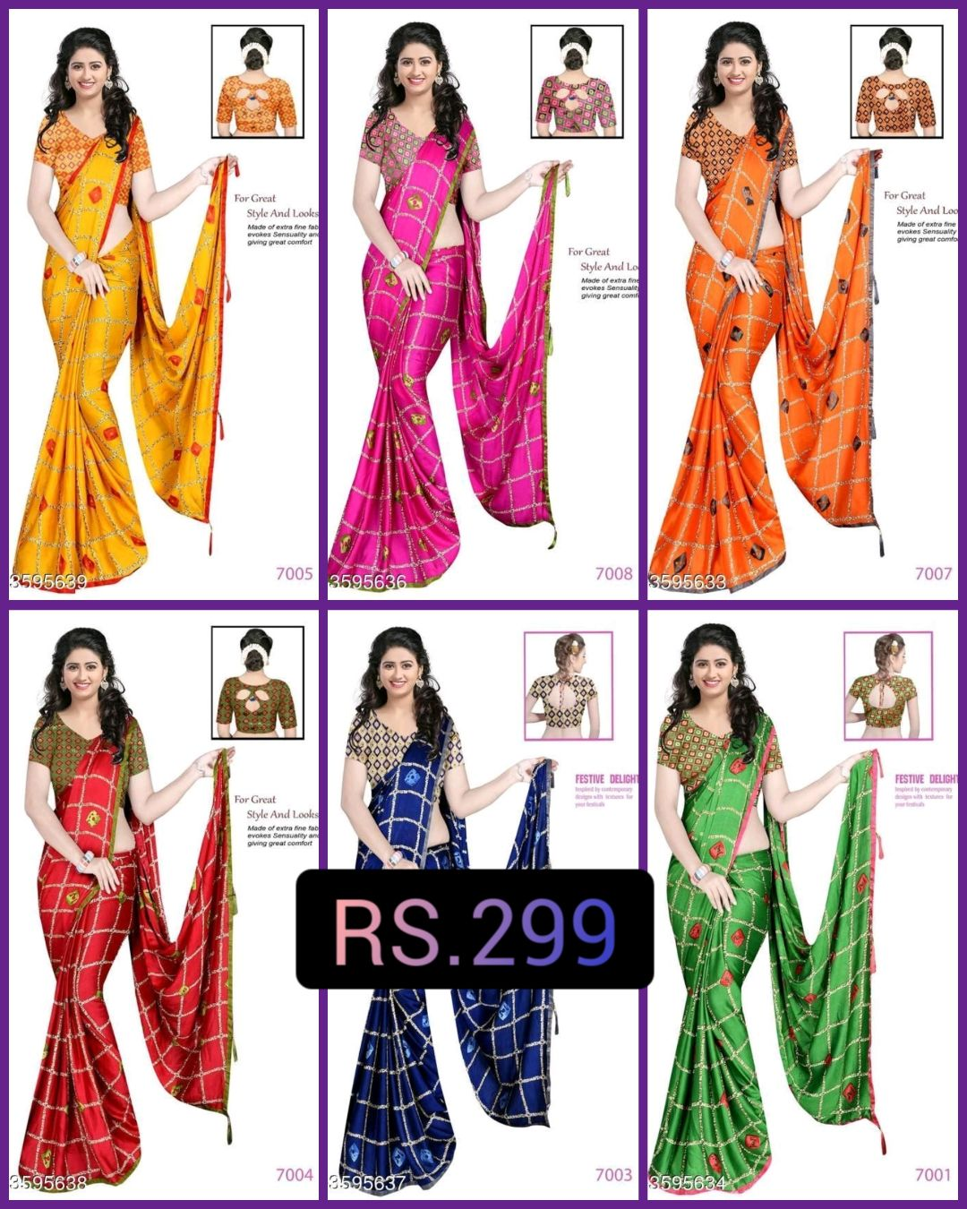 👗 लहँगा/साड़ी/सलवार डिज़ाइन - For Great Style And Looks Made of extra fine fan evokes Sensuality and gwing great comfort For Great Style And Loc Made of extra fine evokes Sensualty giving great comfo For Great Style And Lo Made of extrane evokes Sensual giving great com 3595639 7005 3595636 7008 8595633 7007 FESTIVE DELIGHT FESTIVE DELIGHT For Great Style And Looles Made of extra fine fac evokes Sensity and Owing great comfort RS . 299 3595638 . 595637 7003 3595634 7001 - ShareChat
