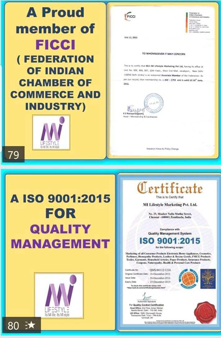 📰 29 ડિસેમ્બરનાં સમાચાર - FICCI 2003 TO WHOMSOEVER IT MAY CONCERN A Proud member of FICCI ( FEDERATION OF INDIAN CHAMBER OF COMMERCE AND INDUSTRY ) 2016 Duy KS UFESTYLE SU 79 Certificate This is to Certify that MI Lifestyle Marketing Pvt . Ltd . Na 23 , Moker Nalba Math Street , Chennai - Tamiluts , India A ISO 9001 : 2015 FOR QUALITY MANAGEMENT Compliance with Quality Management System ISO 9001 : 2015 for the following scope Marketing C ar Paduttheumatik tam - Arya Cats Perfeempathy Port , Lasther A Rene FMCG Porte Te Ga w Arte , de Protect Cupa Naturales . He Anal Care Product OMS . 041121216 Orgasme 2 016 26 - 2010 25 December 3019 For Cars Certification LIFESTYLE S M D M S UNO . TRX 80 : * - ShareChat