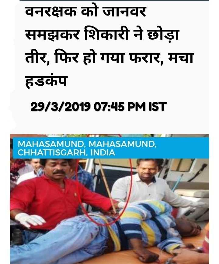 📰 29 માર્ચનાં સમાચાર - वनरक्षक को जानवर समझकर शिकारी ने छोड़ा तीर , फिर हो गया फरार , मचा हड़कंप 29 / 3 / 201907 : 45PMIST MAHASAMUND MAHASAMUND . CHHATTISGARH , INDIA - ShareChat
