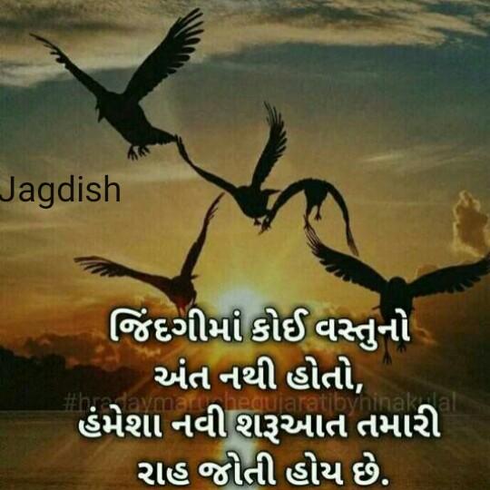 ✒️ કવિની કલમ - Jagdish જિંદગીમાં કોઈ વસ્તુનો અંત નથી હોતો , હંમેશા નવી શરૂઆત તમારી રાહ જોતી હોય છે . Suvninak - ShareChat