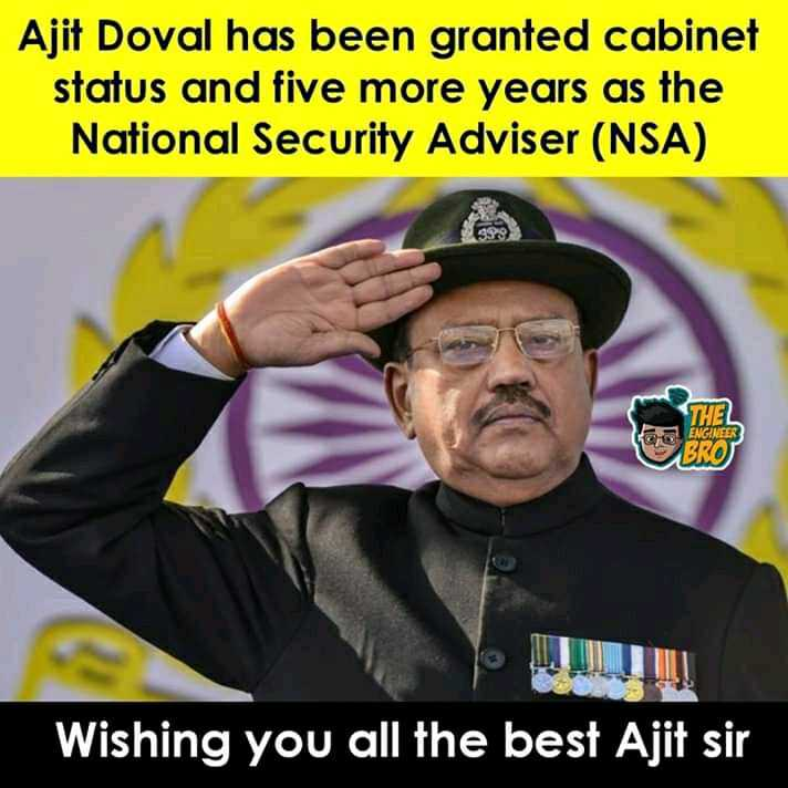 3 जून की न्यूज़ - Ajit Doval has been granted cabinet status and five more years as the National Security Adviser ( NSA ) THEL ENGINEER BROS Wishing you all the best Ajit sir - ShareChat