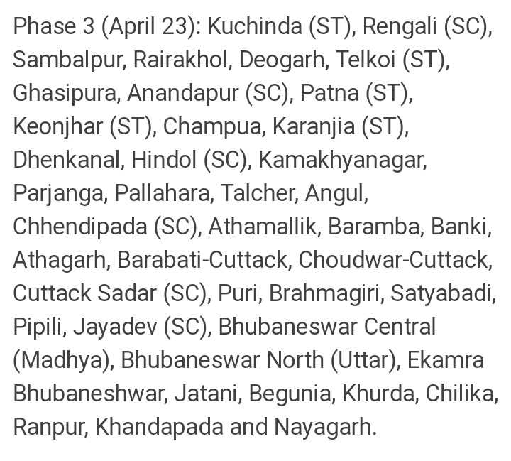 3️⃣ନିର୍ବାଚନ ତୃତୀୟ ପର୍ଯ୍ୟାୟ - Phase 3 ( April 23 ) : Kuchinda ( ST ) , Rengali ( SC ) , Sambalpur , Rairakhol , Deogarh , Telkoi ( ST ) , Ghasipura , Anandapur ( SC ) , Patna ( ST ) , Keonjhar ( ST ) , Champua , Karanjia ( ST ) , Dhenkanal , Hindol ( SC ) , Kamakhyanagar , Parjanga , Pallahara , Talcher , Angul , Chhendipada ( SC ) , Athamallik , Baramba , Banki , Athagarh , Barabati - Cuttack , Choudwar - Cuttack , Cuttack Sadar ( SC ) , Puri , Brahmagiri , Satyabadi , Pipili , Jayadev ( SC ) , Bhubaneswar Central ( Madhya ) , Bhubaneswar North ( Uttar ) , Ekamra Bhubaneshwar , Jatani , Begunia , Khurda , Chilika , Ranpur , Khandapada and Nayagarh . - ShareChat